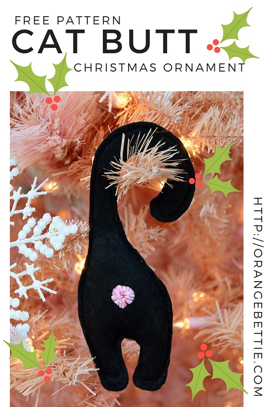 Cat butt Christmas ornament FREE PATTERN