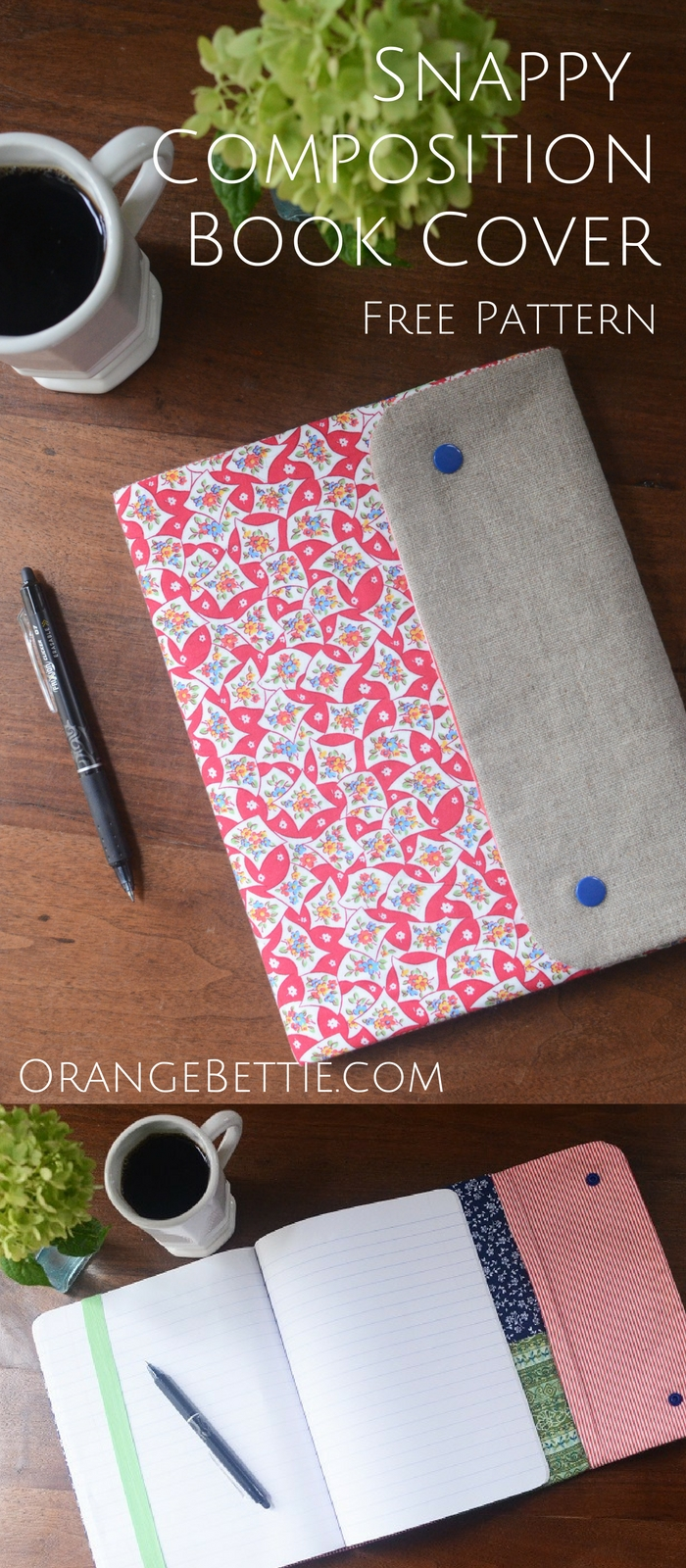 Fabric Book Covers Make Your Own : Snappy composition book cover free pattern orange bettie
