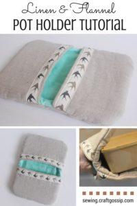 Linen and flannel pocket pot holder