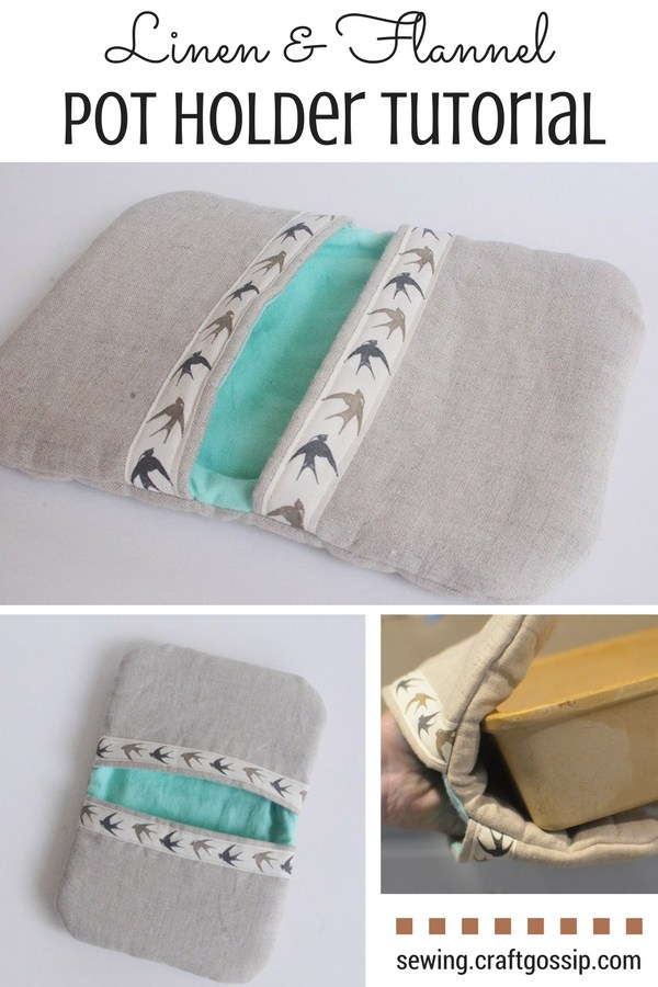 Linen and flannel pocket pot holder