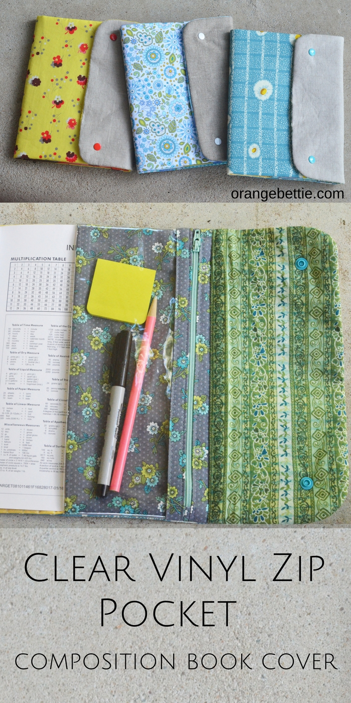 Make a composition book cover with a clear vinyl zip pouch to hold your pencils and pens!