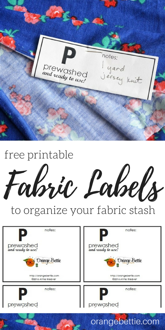 'Prewashed' labels for your fabric stash - free printable - so you can always know when your fabric is prewashed and ready to sew!