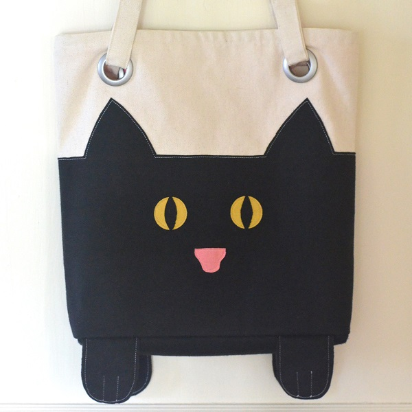 Paws And All Cat Tote - free sewing pattern - Orange Bettie