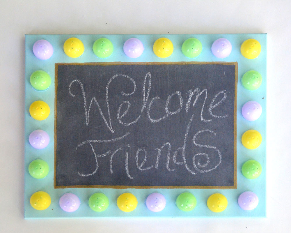 DIY Easter egg faux marquee chalkboard tutorial