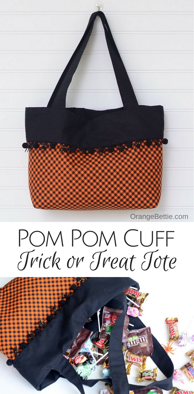 Sew a cute Trick or Treat tote with a pom pom cuff!