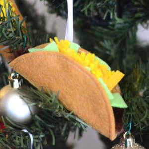 Felt taco Christmas ornament