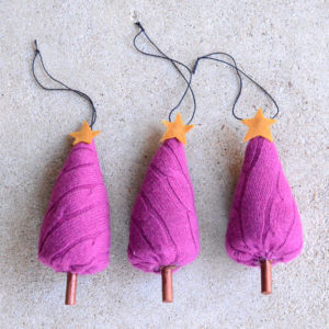 Upcycled sweater Christmas tree ornaments