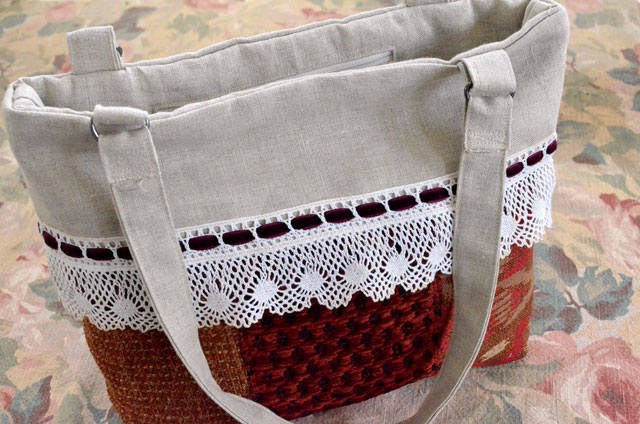 Linen and Lace Cuff Bag - Tutorial