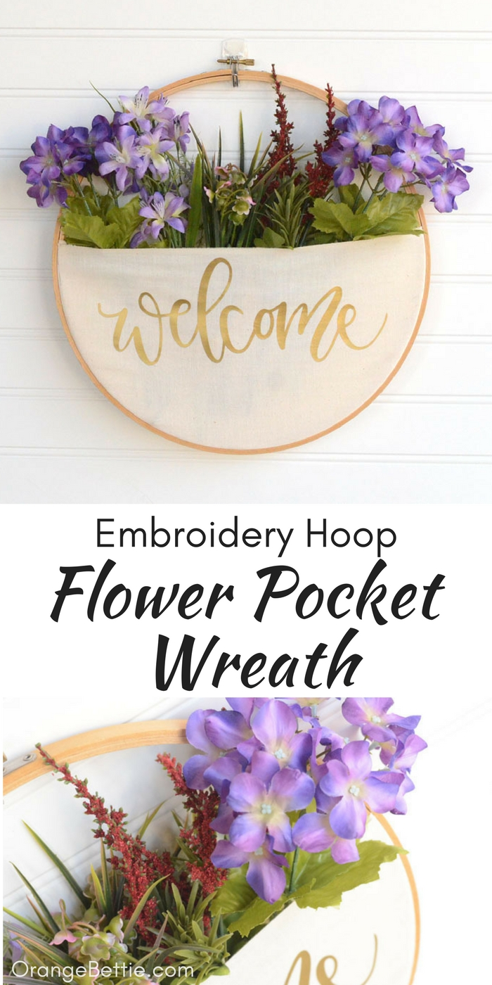 DIY Embroidery Hoop Pocket Wreath - No-Sew Tutorial