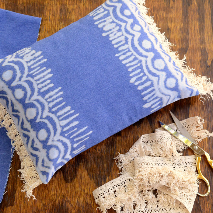 Diy Boho Bleach Denim Pillow Tutorial Orange Bettie