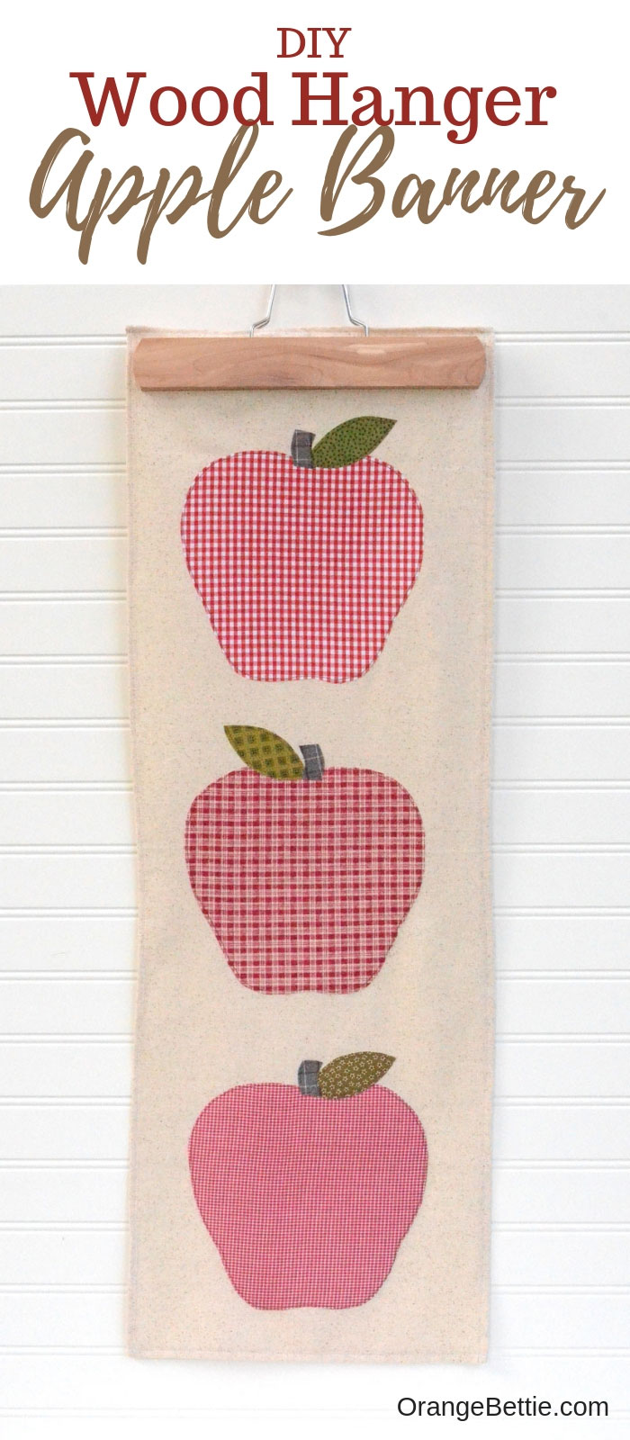 DIY Fall Apple Banner with Wood Hanger - Free Pattern
