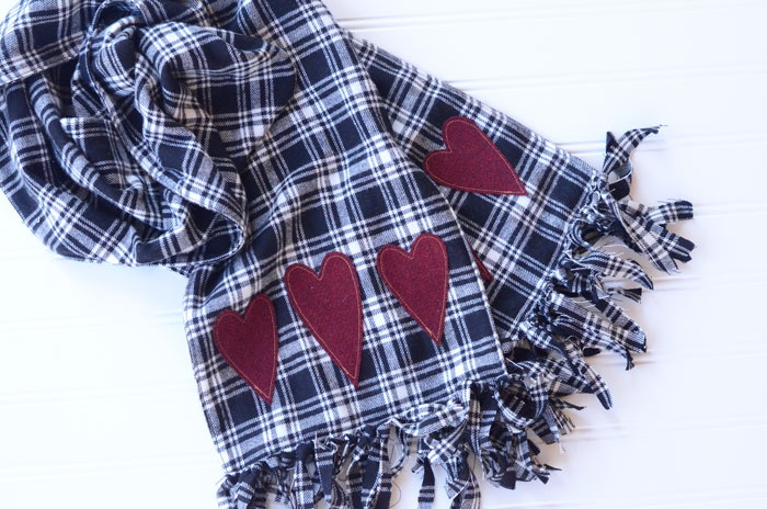 Fringed flannel heart scarf sewing tutorial orange bettie