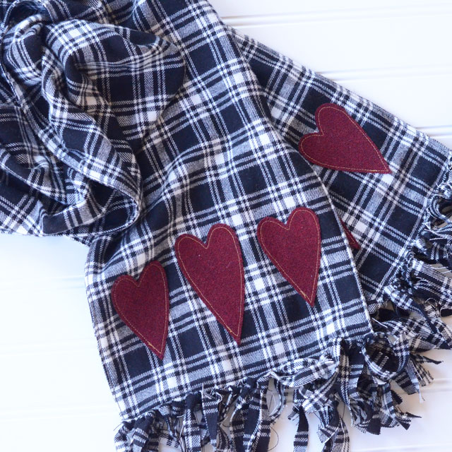 Fringed Flannel Heart Scarf - Sewing Tutorial