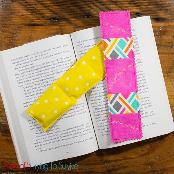 Book Weight and Fabric Bookmark by Mom of 5 Trying to Survive