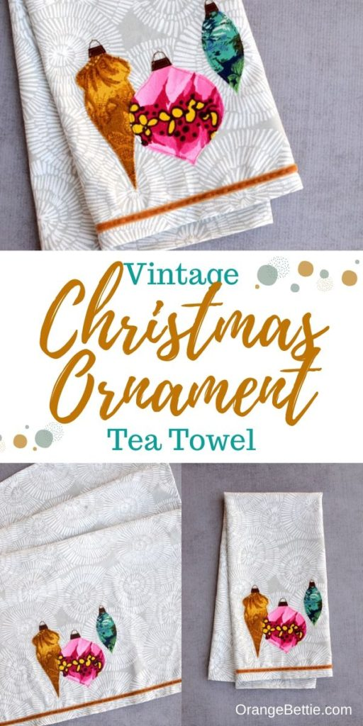 Vintage Ornaments Christmas Tea Towel - Free Sewing Pattern