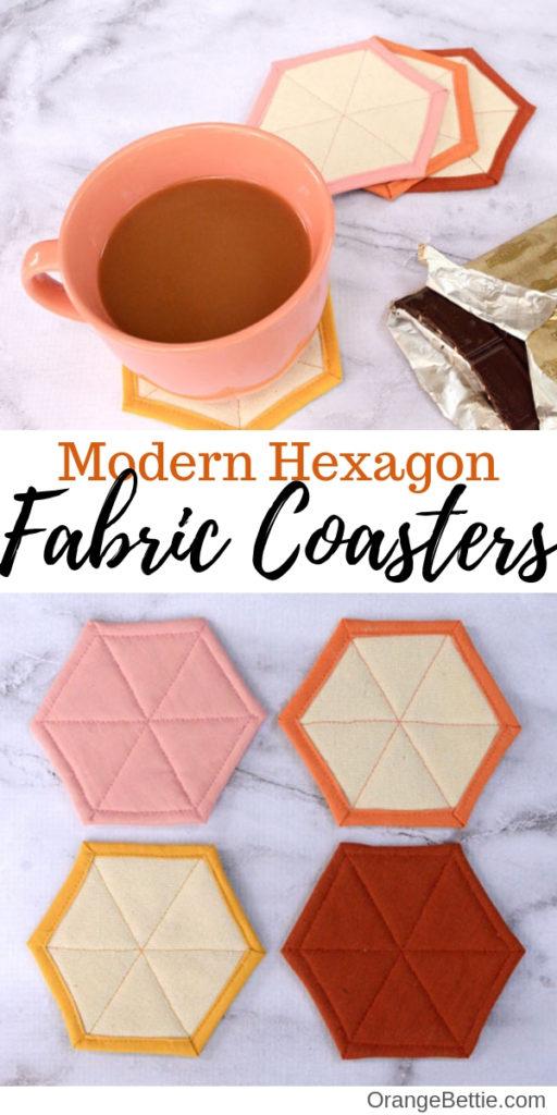 Modern Hexagon Fabric Coasters DIY Sewing Tutorial by Orange Bettie