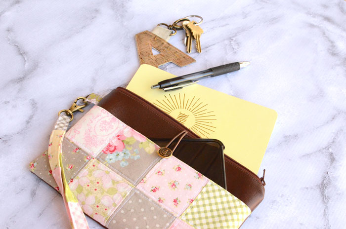 Patchwork Pocket Wristlet Zipper Pouch Tutorial by Orange Bettie