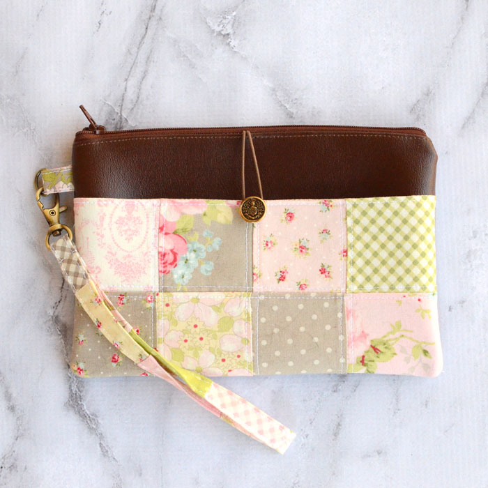 Patchwork Pocket Wristlet Pouch - Zipper Pouch Tutorial by Orange Bettie
