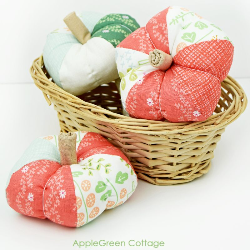 Fabric pumpkins by AppleGreen Cottage