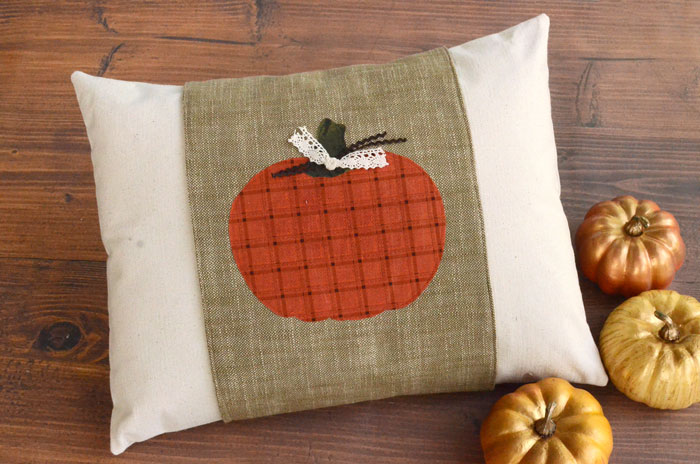 DIY Fall Pillow with Pumpkin Applique Pillow Wrap