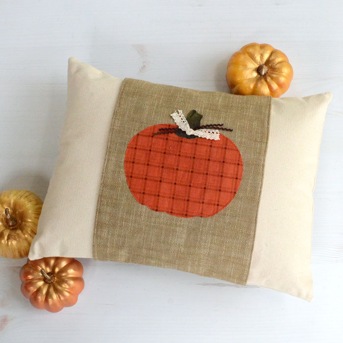 Fall pillow with pumpkin applique pillow wrap by Orange Bettie