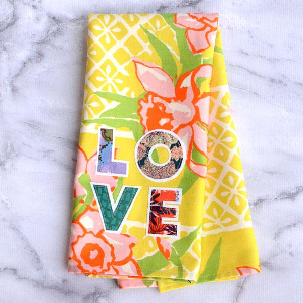 Love Applique Tea Towel by Orange Bettie