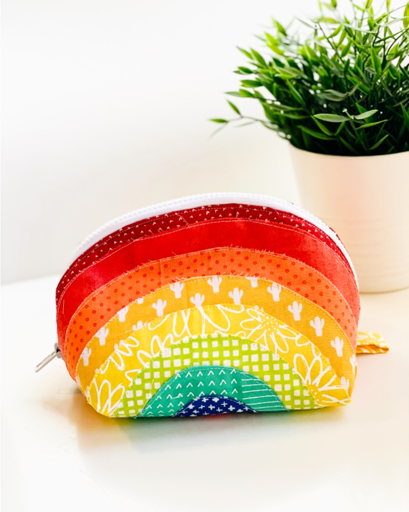 Rainbow Round Zipper Pouch by My Sew Bliss
